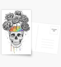 Skull with rainbow brains Postcards
