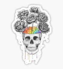 Skull with rainbow brains Sticker