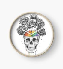 Skull with rainbow brains Clock