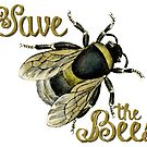 Save the Bees vintage illustration by surgedesigns