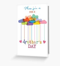 Invitation, Customizable Mother's Day Brunch, Rainbow Clouds and Hearts Greeting Card