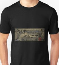 One U.S. Dollar Bill - 1896 Educational Series in Gold on Black  Unisex T-Shirt