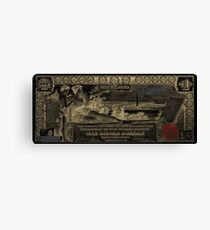 One U.S. Dollar Bill - 1896 Educational Series in Gold on Black  Canvas Print