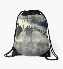Rainy City Street Drawstring Bag
