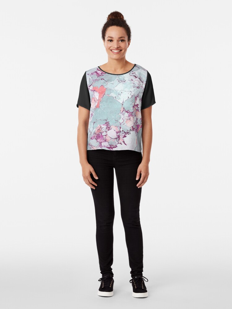 Alternate view of Marble Art V13 #redbubble #pattern #home #tech #lifestyle Chiffon Top