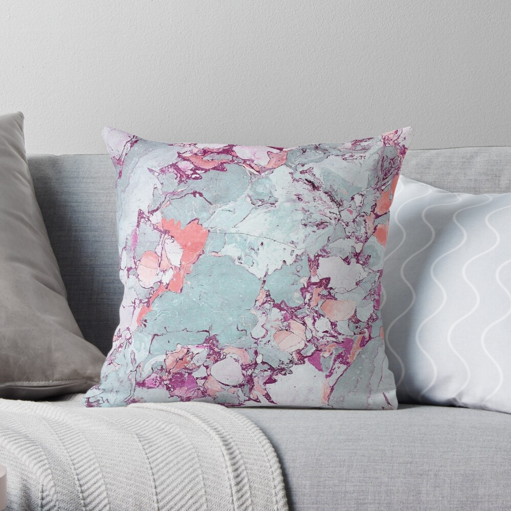 Marble Art V13 #redbubble #pattern #home #tech #lifestyle Throw Pillow