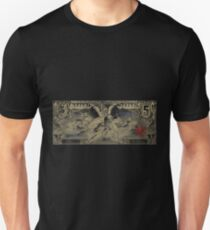 Five U.S. Dollar Bill - 1896 Educational Series in Gold on Black  Unisex T-Shirt