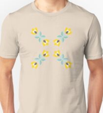 Scandinavian flowers 07, teal and yellow tulips, pattern  Unisex T-Shirt