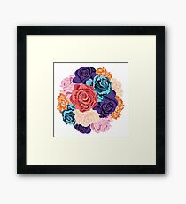 Round Bunch of Colorful Roses Framed Print