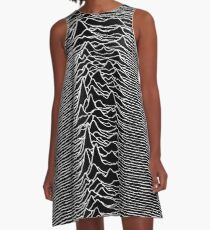 CP 1919 - Joy Division Unknown Pleasures: White on clear A-Line Dress