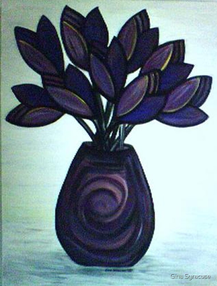 purple flowers in a vase by Gina Syracuse