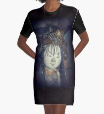 Traditional Wooden Chinese Doll Graphic T-Shirt Dress
