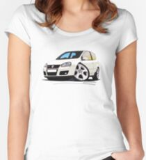 VW Golf GTi (Mk5) White Women's Fitted Scoop T-Shirt