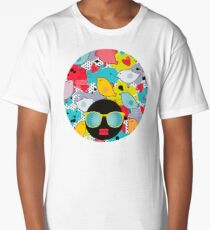 Birds and hearts and colorful blur Long T-Shirt