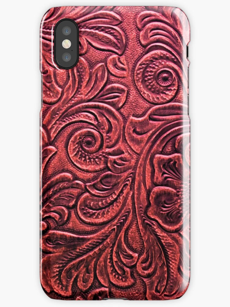 Red Embossed Tooled Leather Floral Scrollwork Design by RandP Walriven