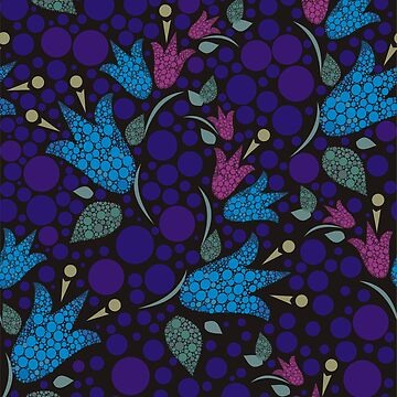 Flowers bells formed by circles in blue by Nata-V