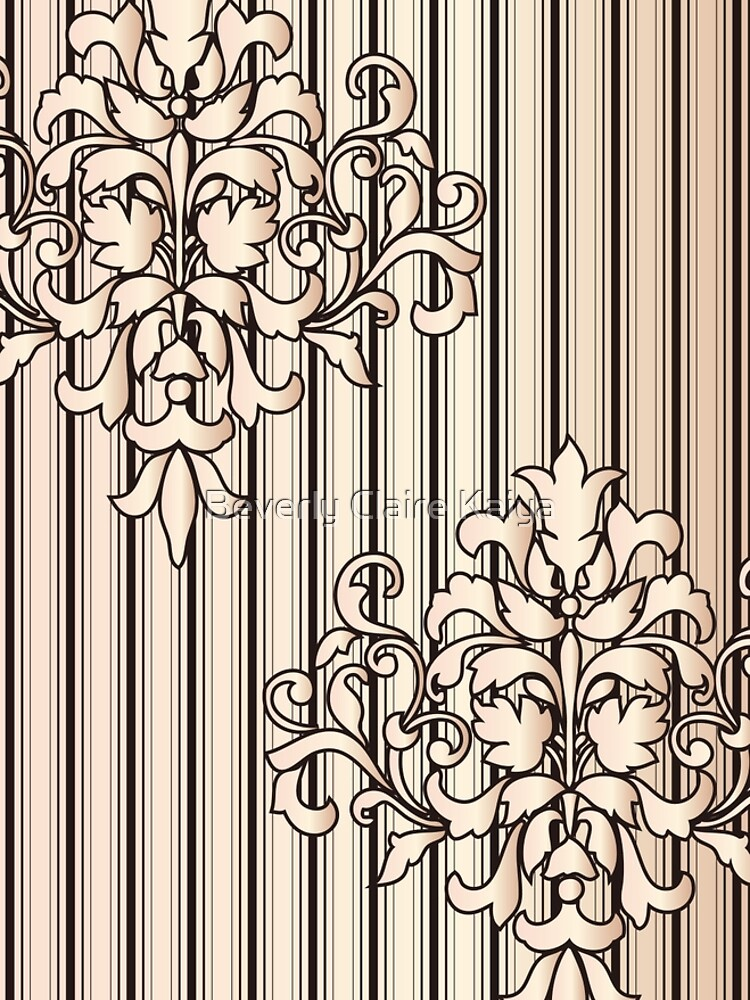 Damask Stripes Girly Neutral Monochrome by beverlyclaire