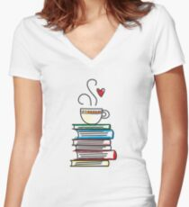 Cup of Tea and Books T-Shirt. Cute Gift for Book Lovers Women's Fitted V-Neck T-Shirt