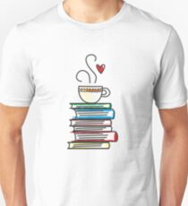 Cup of Tea and Books T-Shirt. Cute Gift for Book Lovers Unisex T-Shirt