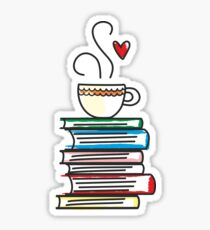 Cup of Tea and Books T-Shirt. Cute Gift for Book Lovers Sticker