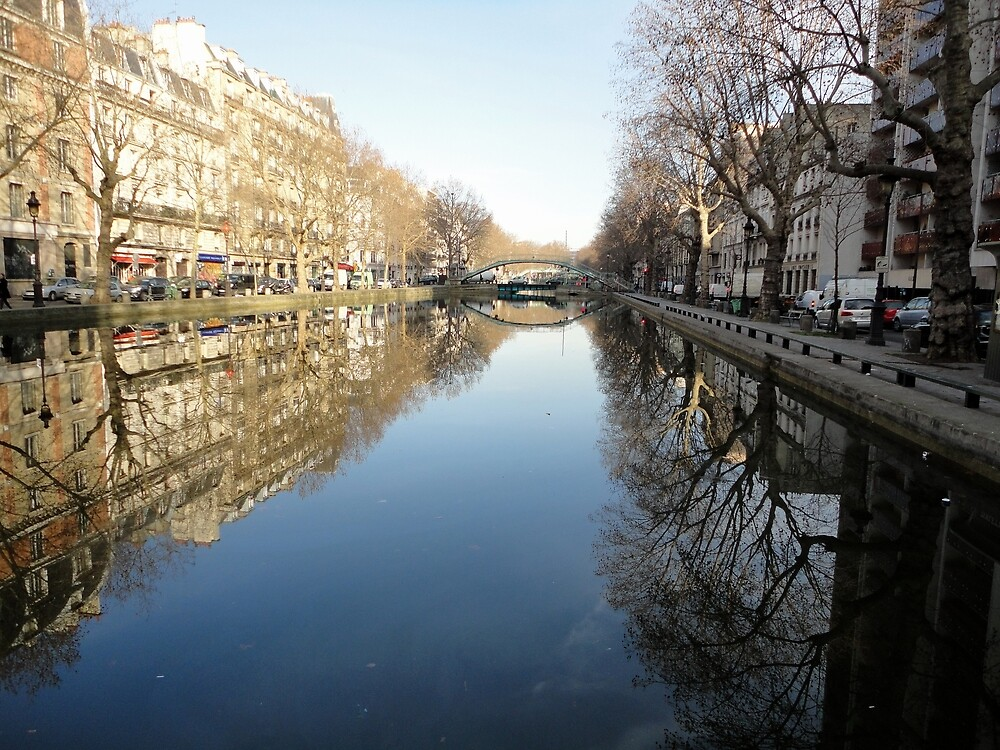 Water Reflections, Canal, Paris, France 2012 by muz2142
