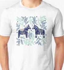 Swedish Dala Horse – Navy & Mint Palette Unisex T-Shirt