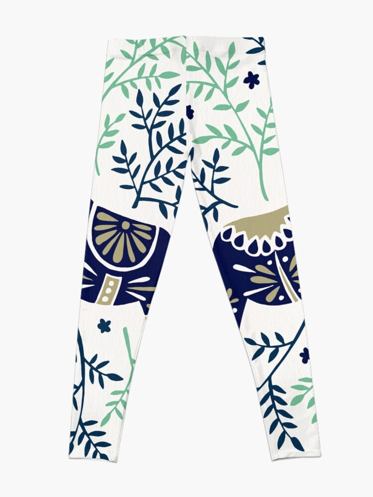 Alternate view of Swedish Dala Horse – Navy & Mint Palette Leggings