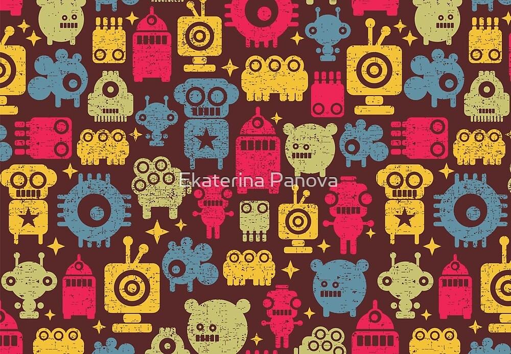 Robot and monsters by Ekaterina Panova