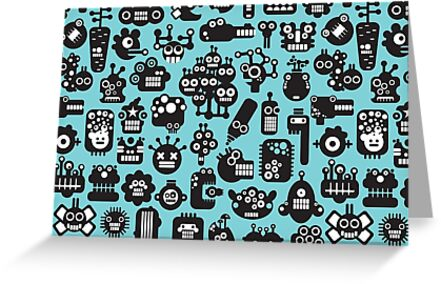 Robots faces blue by Ekaterina Panova