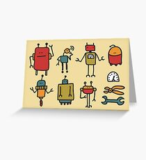 Retro robots Greeting Card