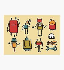 Retro robots Photographic Print