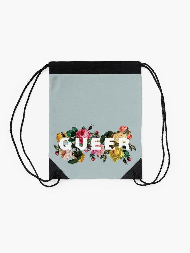 Alternate view of Queer (Antique Roses) Drawstring Bag
