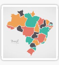 Brazil Map with modern round shapes Sticker