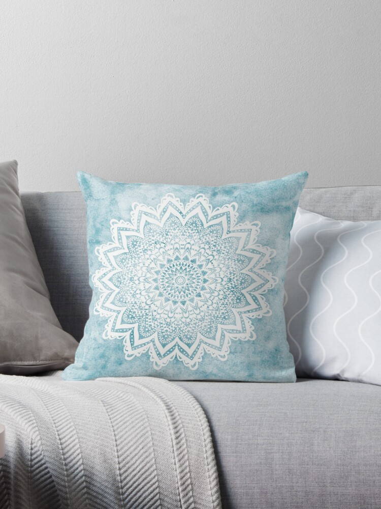 light blue throw pale blue mandala savanah light blue by nikamartinez blue