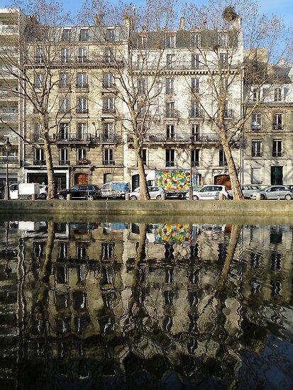 Reflections, Canal Saint Martin, Paris, France, Europe 2012 by muz2142