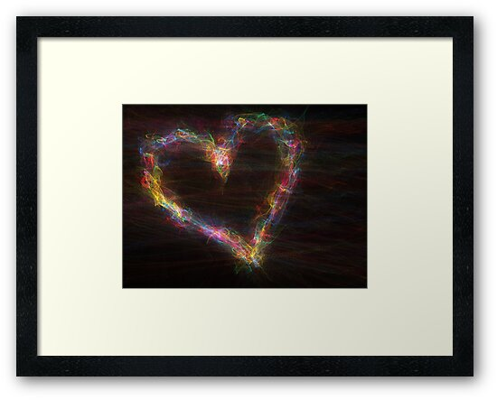 Abstract rainbow heart on black background.  by Mariia Kalinichenko