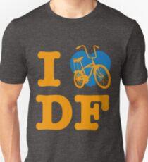 I Love Cycling DF 2 Yellow Blue / Yo Amo andar en Bicicleta en el DF  / Chilango Pride / Orgullo Chilango Unisex T-Shirt