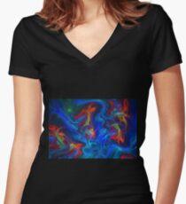 Ocean lights Women's Fitted V-Neck T-Shirt