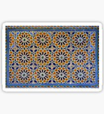 Spanish ceramic tiles with orange and blue flower mosaic Sticker