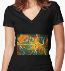 Colored water Women's Fitted V-Neck T-Shirt