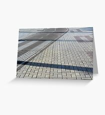 Different types of pavements on the sidewalk and the street Greeting Card