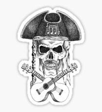 Ukulele Pirate Skull Sticker