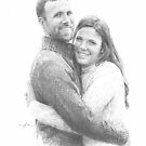 newlyweds pencil portrait by Mike Theuer