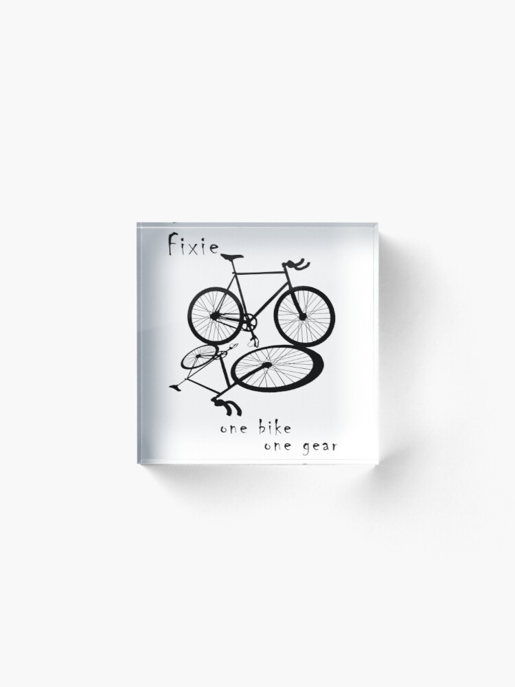 Alternate view of Fixie - one bike one gear (black) Acrylic Block