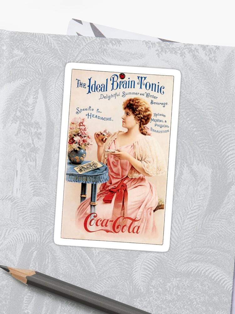 Vintage poster with image of coca cola soda sticker woman girl mother blue    Sticker
