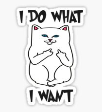 I Do What I Want Cat Shirt - Funny Cat Flipping Off the Bird Middle Finger Tee Sticker