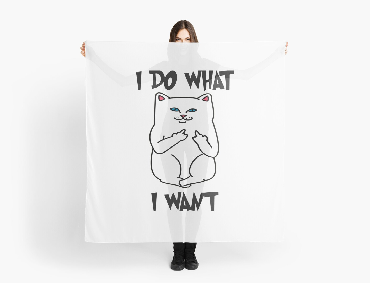 I Do What I Want Cat Shirt - Funny Cat Flipping Off the Bird Middle ...