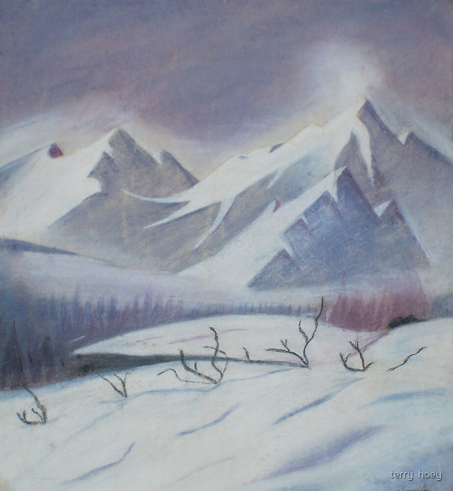snowy mountain scene by terry  hoey