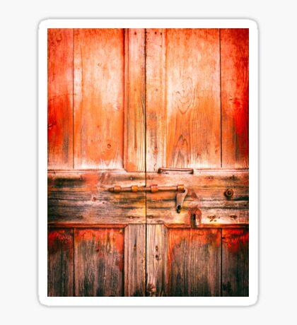 Rotten door with rusty lock Sticker