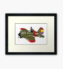 Cartoon Military Retro Fighter Framed Print